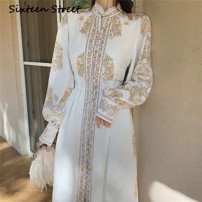 New Spring Vintage Printed Woman Dress Long Puff Sleeve Single-breasted Elegant Party Maxi Dresses Female Fashion Vestidos