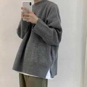 Осень-зима 2020, корейский свитер, Мужской пуловер, топы, повседневный мужской вязаный однотонный уличная одежда, мужской плотный теплый свит...