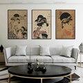 Художественная печать на холсте, японский декоративный декор, картина укийое, плакаты и принты, настенные картины для спальни, печать на хол...