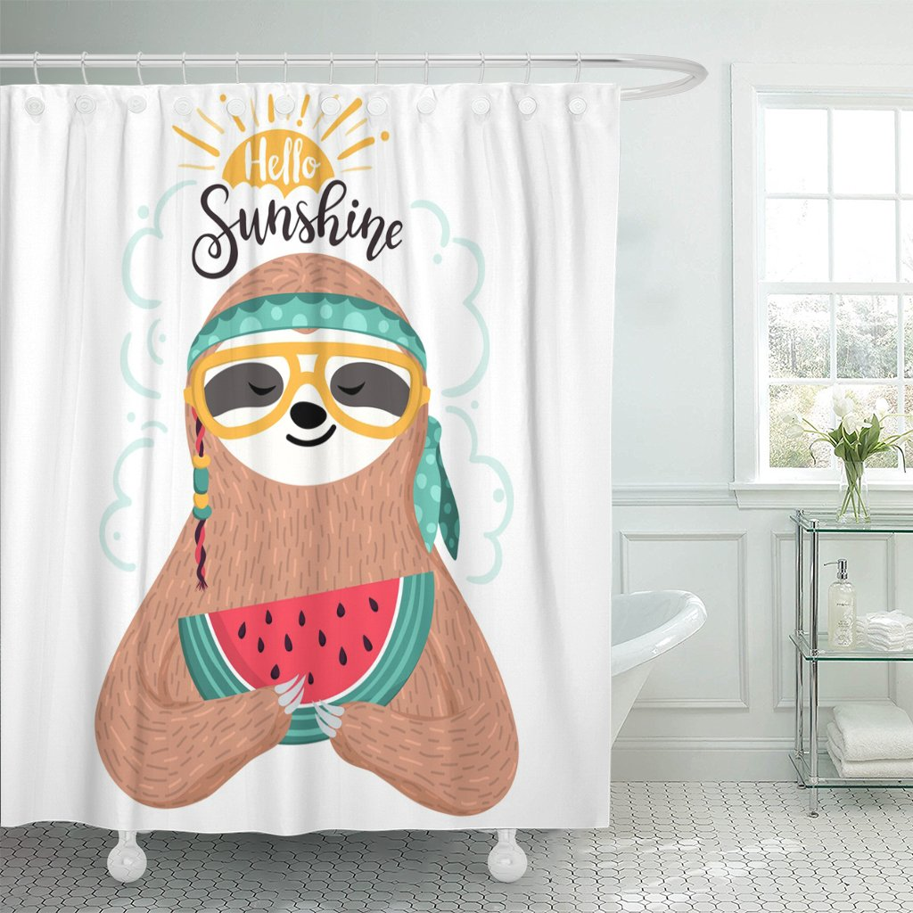 Cute Baby Sloth Eating Watermelon Hipster Animal Wearing Glasses And Bandana Funny Hippie Holding Slice Shower Curtain