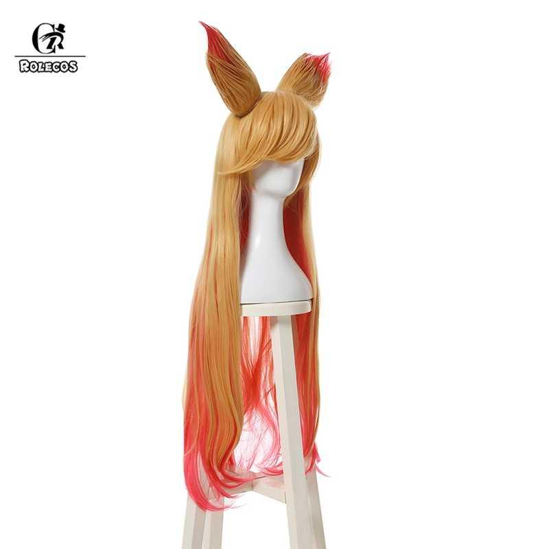 ROLECOS Ahri Звездная защитница Косплей головные уборы LOL Ари косплей волос с ушами 90 см длинные женские волосы термостойкие синтетические