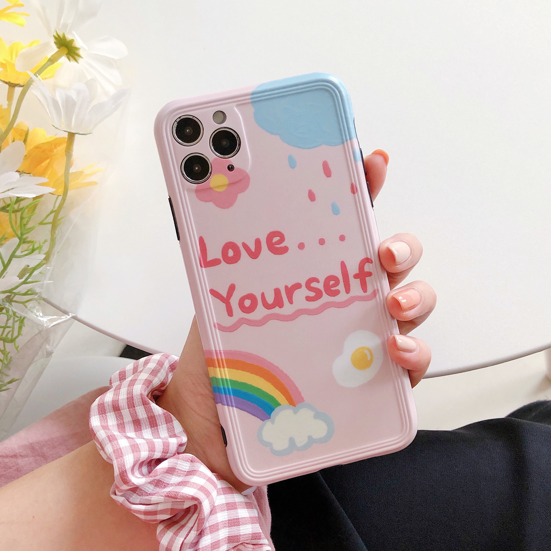 Summer rainbow Fried eggs Phone case for iPhone 11 Pro Max case Cute Silicone cover for iPhone XS MAX XR X 7 8 Plus 7Plus Case