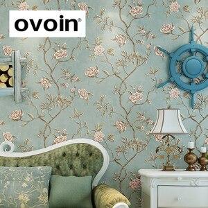 Image 1 - ירוק טורקיז פרחוני מובלט טפט לחדר שינה סלון קירות Romatic אדום פרח קיר נייר בית תפאורה בז