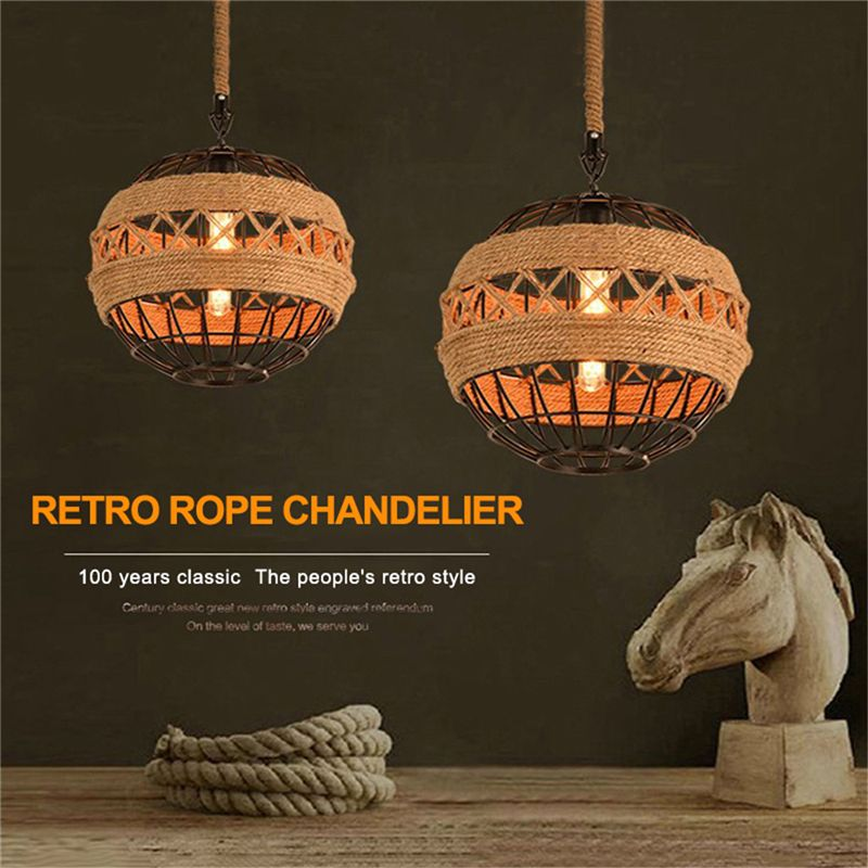 Country Retro Rope Industrial Wind Chandelier Internet Cafe Restaurant Cafe Bar Ball Personalized Lamps
