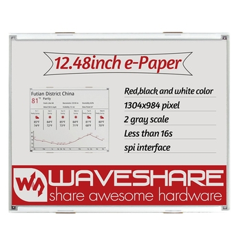 Waveshare12.48Inch E-Ink Raw Display, 1304-984 Resolution,Red/Black/White Three-Color, SPI Interface, Without PCB
