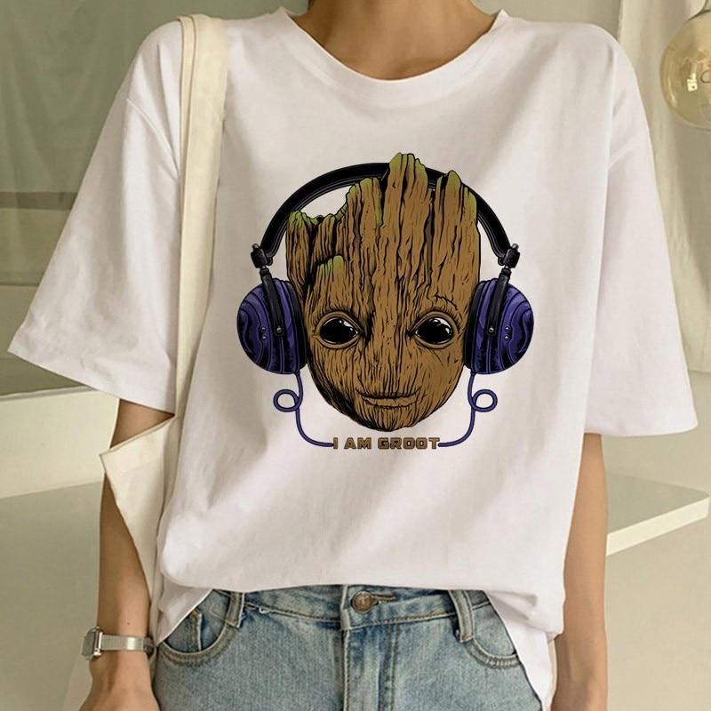 Soy Groot camiseta de mujer tutores de la galaxia película camiseta verano Camisetas Casual sudadera Harajuku Shirs Streetwear Conjunto de ropa de bebé recién nacido para traje de verano para chicos conjunto de sombrero + mameluco a rayas + traje azul conjunto de ropa informal para niños y niños