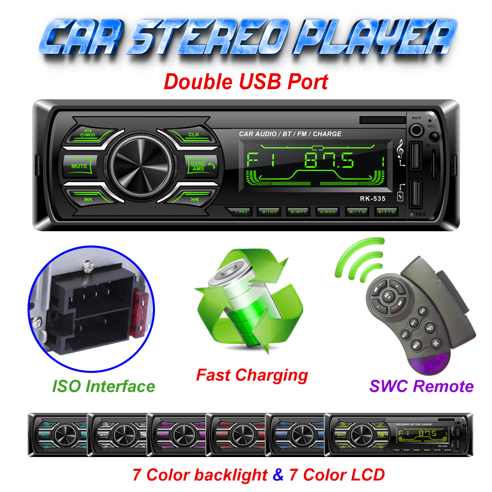 Factory Hotsale 1 Din Car Radio FM DC 12V Fixed Panel Auto Audio MP3  Player Bluetooth Two USB Charger SD AUX SWC Remote RK-535