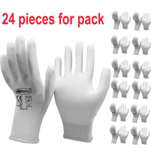 24Pieces White Anti Static Protective Work Gloves with Nylon Knitted Liner Dipped PU On Palm Glove