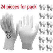 24 peças Branco Anti Estática de Proteção Luvas de Trabalho de Nylon com Forro de Malha Mergulhado Luva de PU Na Palma Da Mão