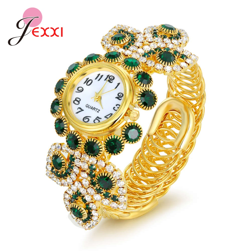 Amazing Luxury Design Women Quartz Watches Multiple Color Cubic Zirconia Bracelet Watch For Bridal Wedding/Engagement Party