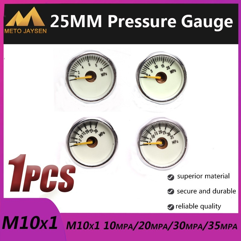 M10x1 High Pressure Gauge 25mm 1 Inch Manometre PCP Paintball Airforce Pump Scuba Diving Valve Gauge 10mpa 20mpa 30mpa 35mpa