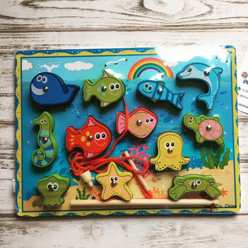 Wooden Fishing Game-Magnetic Fishing Puzzles Sea Creatures Kids Fishing Game Educational Toys For 3 Years Old