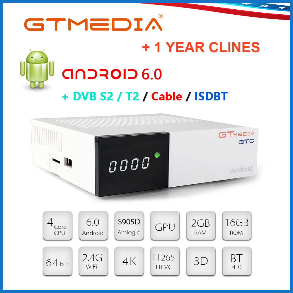 GTMEDIA GTC 4K Set Top Box Receptor Built In Wifi DVB-C Youtube DVB-S2 DVB-T2 Bluetooth 4.0 With 5 Cline Server Smart Tv Box