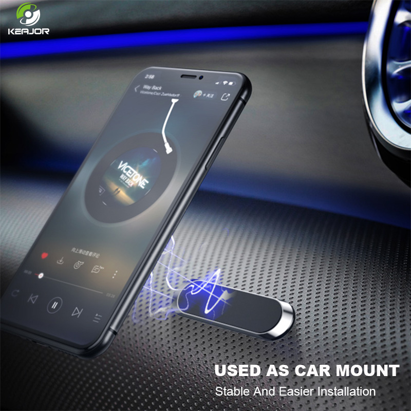 Magnetic Car Phone Holder Mini Metal Universal Strip Shape Stand For IPhone Samsung Huawei Xiaomi Magnet Mobile Car Mount Holder