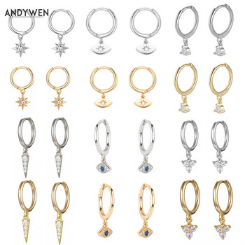 ANDYWEN 925 Sterling Silver Multi Dangle Hoops Crystal Thin Huggies With Charms Loops Circle Clips Earrings Jewelry For Womens - discount item  42% OFF Fine Jewelry