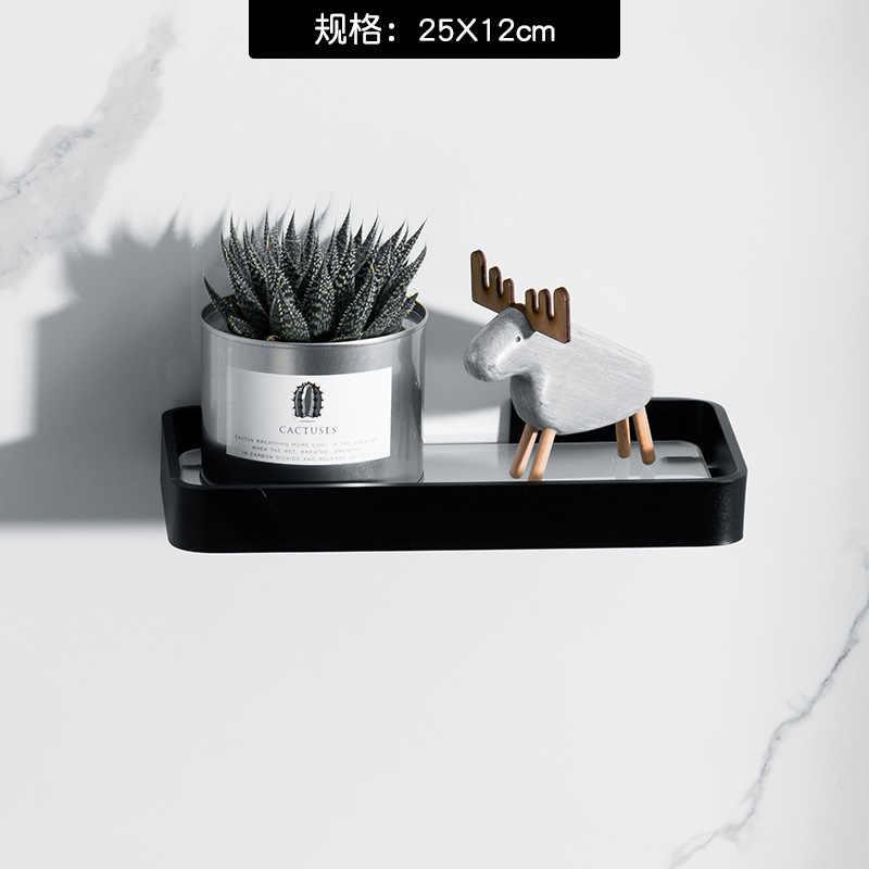 Étagère de salle de bain en aluminium noir, meuble carré en verre pour salle de bain, étagère de cosmétiques de 40CM