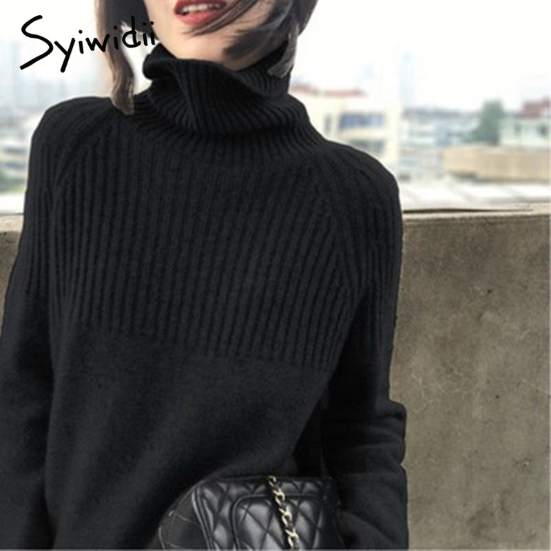 Sweater Women Turtleneck Pullovers Solid Stretch Striped Korean Top Knit Plus Size Harajuku Fall 2020 Winter Clothes Beige Khaki 3