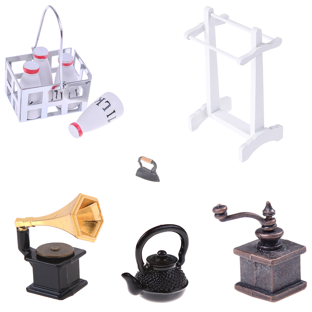 Clothes Iron Towel Rack Boiling Water Kettle Coffee Grinder Milk Basket With 4pcs Bottles Phonograph Doll House Furniture Toys