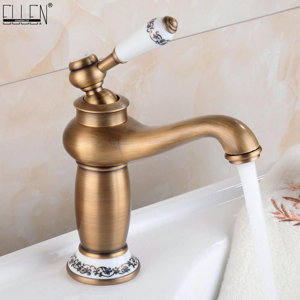Bathroom Faucet Antique Bronze Finish Brass Basin Sink Solid Brass Faucets Single Handle Water Mixer Taps Bath Crane  ELFCT001