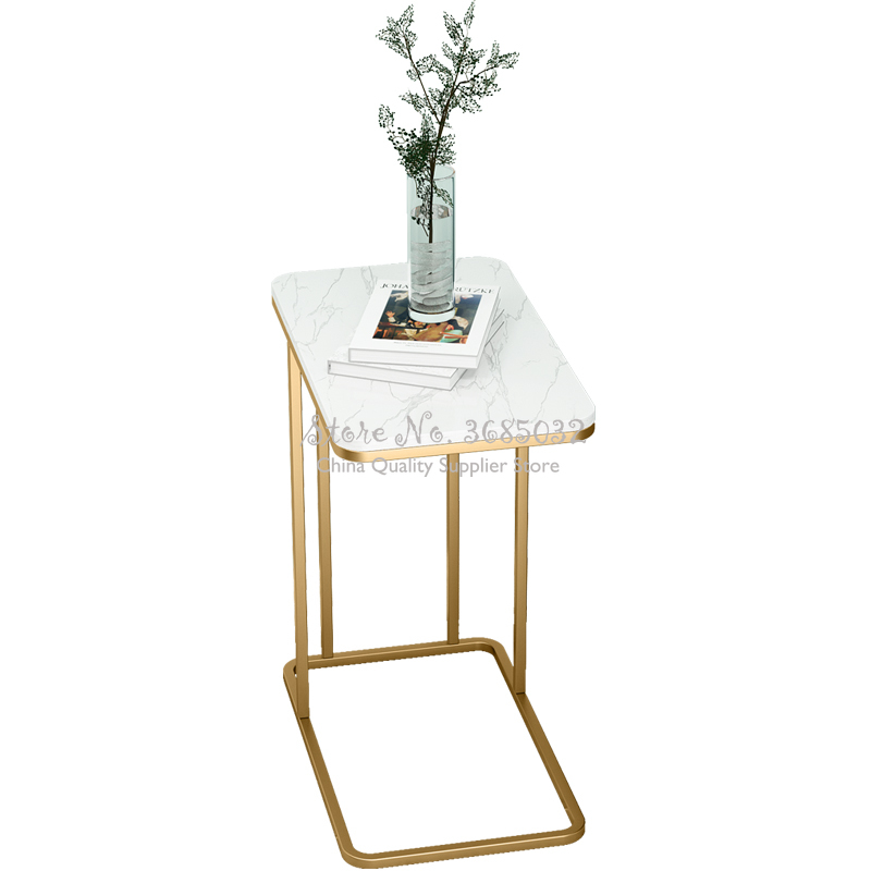 Nordic Simple Golden iron Coffee Table with Marble tabletop Living Room Minimalist Bed Iron Small Table Sofa Shelf 30*55cm
