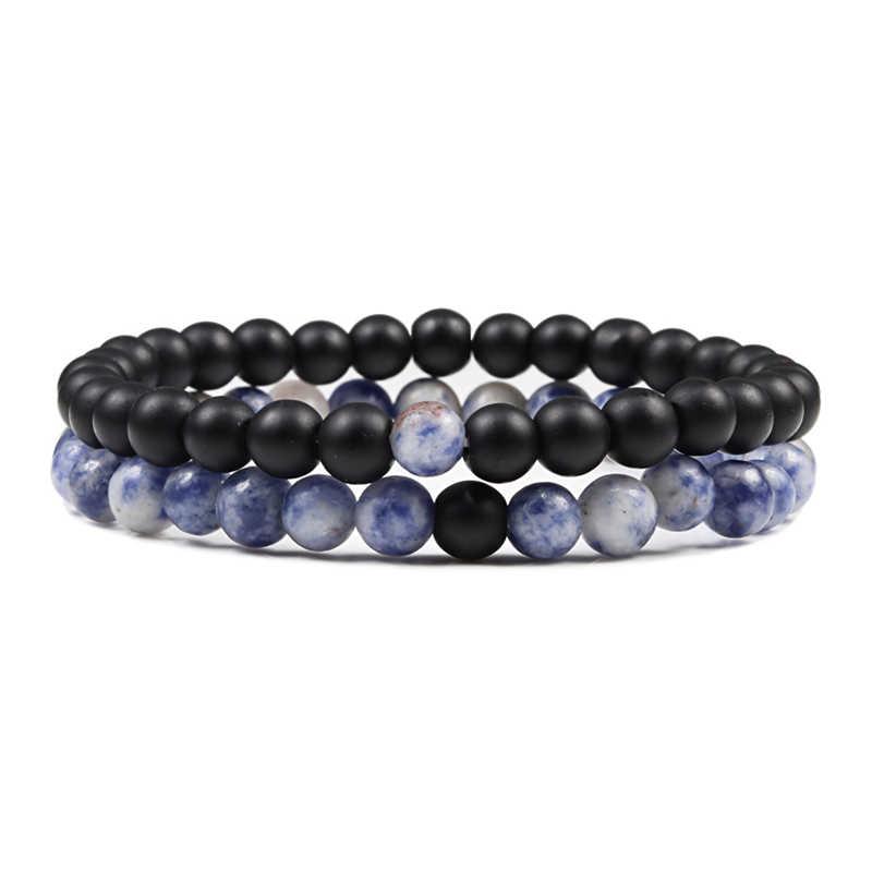 1-2 unids/set pulsera de cuentas azules para hombre pareja distancia Yoga joyería encanto mujeres Piedra Natural negro y blanco con cuentas pulseras brazaletes
