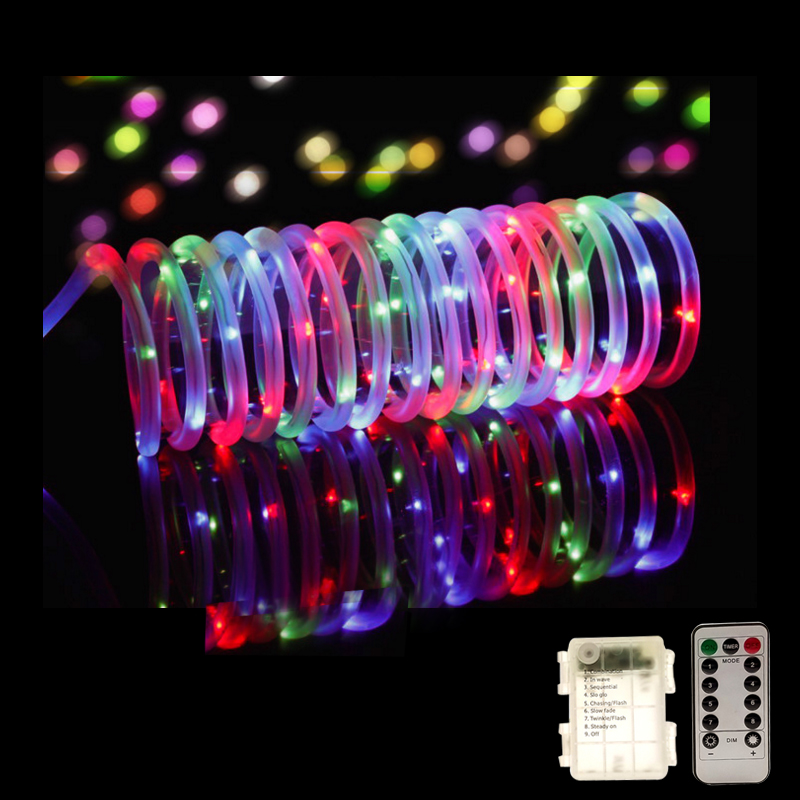 LED Tube Strip Lights 8 Modes Remote Control Battery Garland Outdoor Indoor DIY Decoration Christmas Wedding Garden Tree Lights