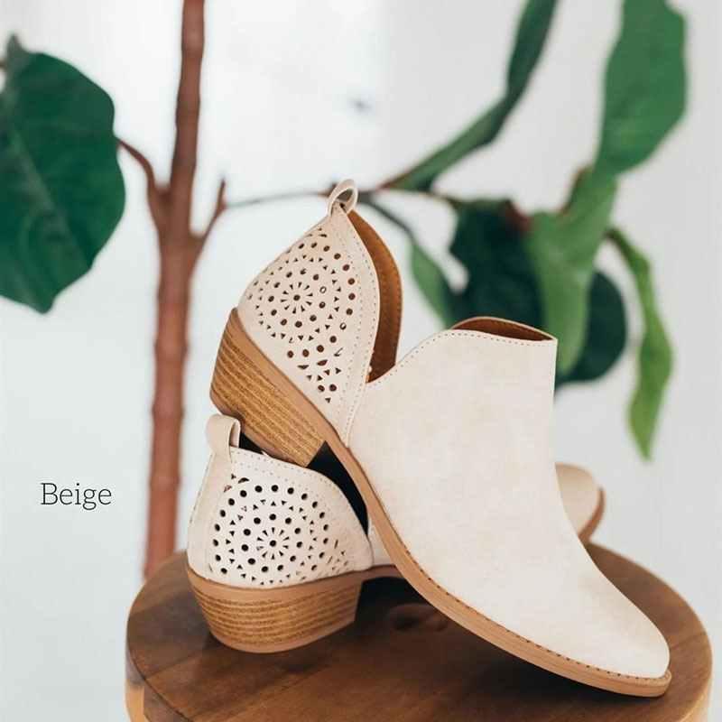 CYSCYSINCOS 2019 נשים נעלי רטרו גבוהה עקב מגפי נקבה להחליק על אמצע עקבים מקרית Botas Mujer נעלי Feminina בתוספת גודל