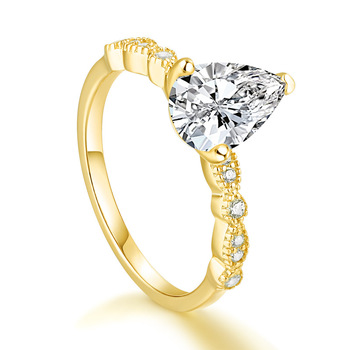 Real 925 Silver Ring For Woman Rose Yellow Whitel Gold Color Pear Simulated Diamond  CZ Stone Wedding Engagement Rings Gift 3