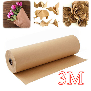 12Kraft Wrapping Paper Roll Smooth Brown Recycled Paper for kids art bouquet Gift DIY Wrapping Parcel Packing Craft papel kraft printing wrapping wax paper soap gift book waxed packing paper food grade rice paper