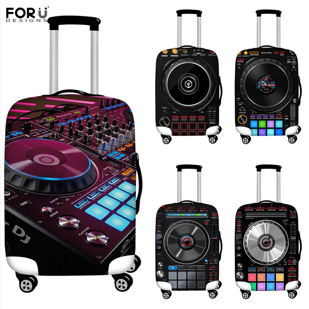 FORUDESIGNS Thicken Suitcase Protector Cover Suitcase Case Punk Loudspeaker Music Print Travel Bag Trolley Elastic Luggage Cover
