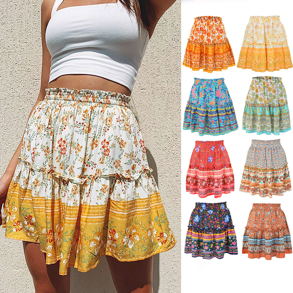 Bohemian Style Women Skirts Summer Casual Vintage High Waist Skirt Ropa Floral Print Beach Ruffled Short Skirt Jupe Femme #20
