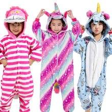 EOICIOI New Flannel Kids Pajamas Animal Unicorn Stitch Pikachu Cosplay Onesies Children Sleepwear For Boys Girls Pyjamas Hooded недорого