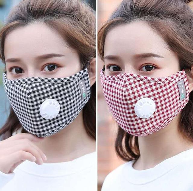 Cute Cotton Plaid Mouth Masks Breath Valve Anti Dust 5-Layer Washable Proof Flu Mouth Mask Windproof Replaceable Filter 1