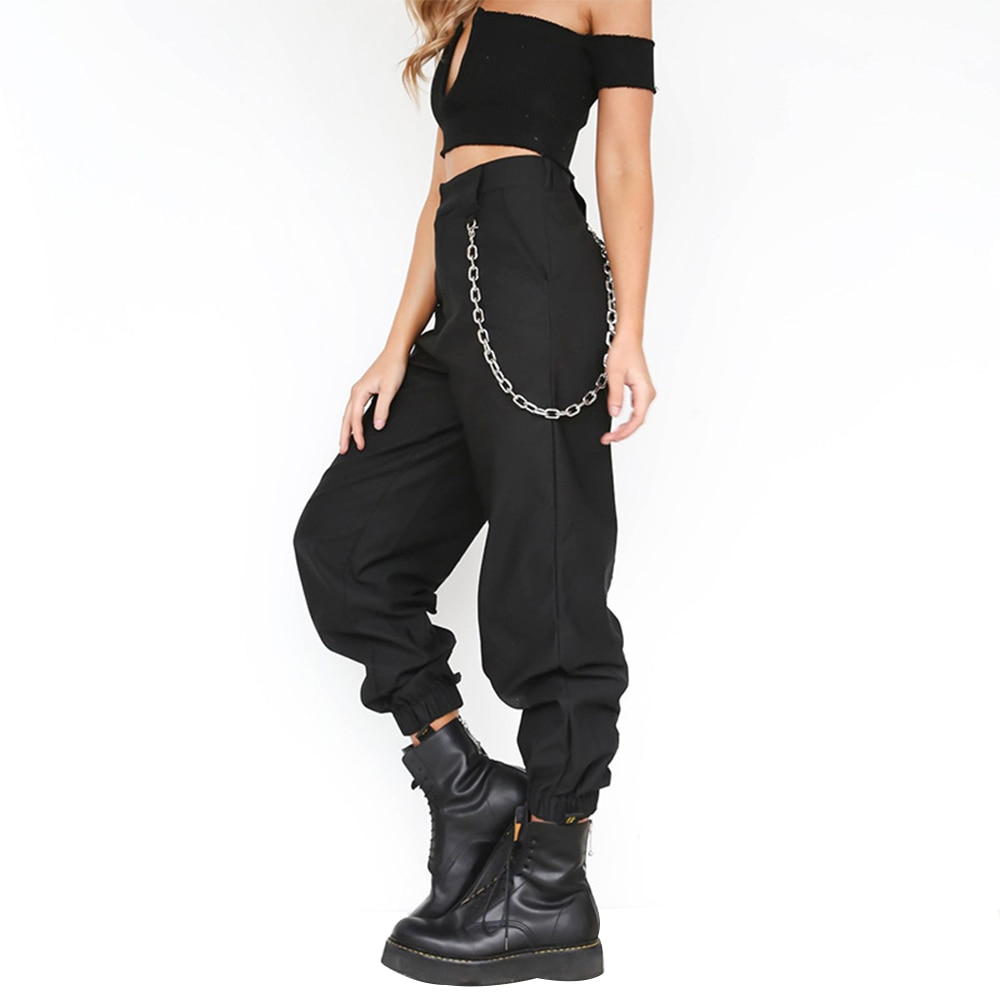 LITTHING S-3XL Plus Size Pants Women Casual High Waist Cargo Pants Women Loose Solid Trousers Pockets Elastic Waist Bottoms