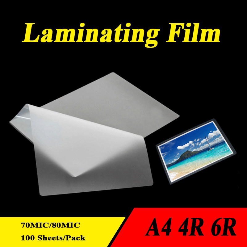 Laminator Film PET EVA Plastifieuse Material 100sheets For Photo/Files/Card/Picture Laminating 70mic 80mic A4 4R 6R