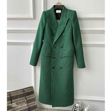 Shoulder-Pads Overcoat Double-Breasted Woolen Female Green Plaid Long Women Winter Fashion