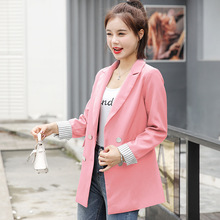 Autumn new fashion check suit jacket female Korean version of the stylish double-breasted slim pink ladies blazer High quality