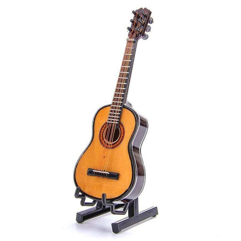 Wooden Mini Ornaments Guitar Musical Instrument Miniature Dollhouse Model Home Decoration With Holder( 5.1 Inch/13 CM)