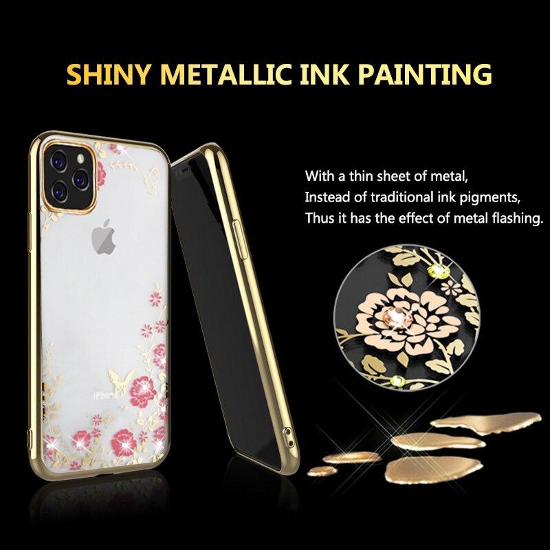 MOESOE Glitter Diamond Flower Case for iPhone 11/11 Pro/11 Pro Max 11