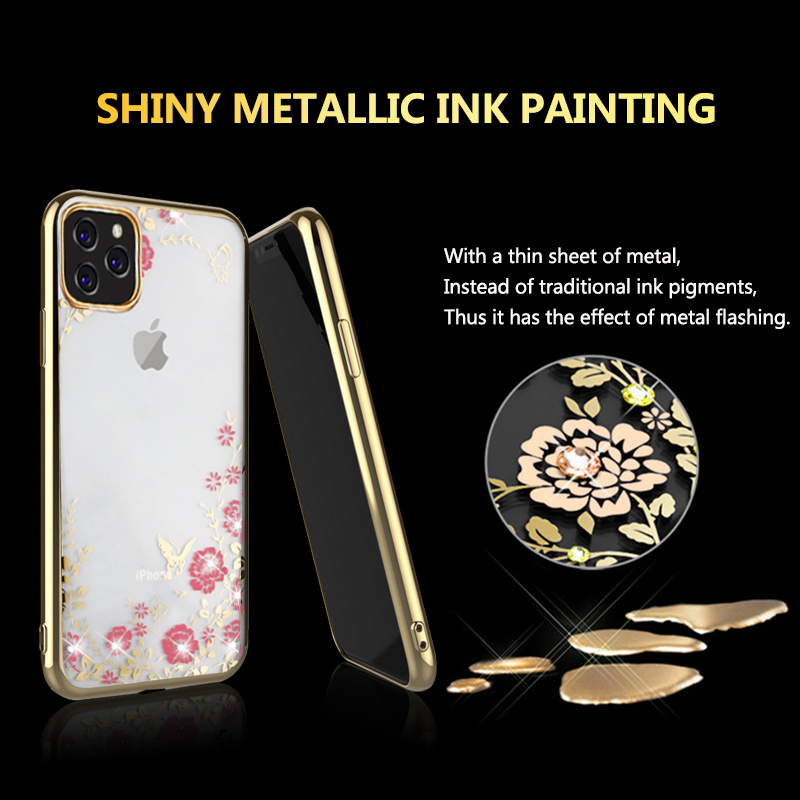 MOESOE Glitter Diamond Flower Case for iPhone 11/11 Pro/11 Pro Max 35