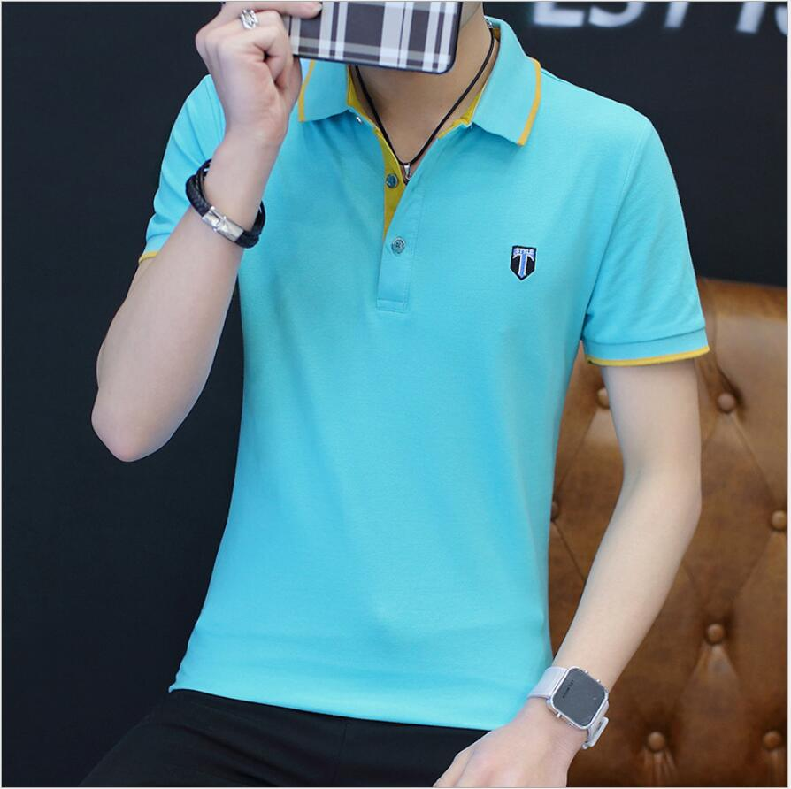 2019 New SB99 Mens Clothing Summer Short Sleeve   Polo   Solid Slim Shirt Men Casual Regular   Polos   Breathable Button Shirt
