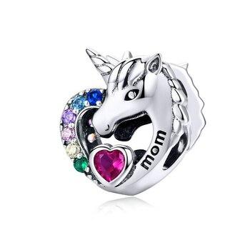 Cuenta de mamá unicornio para cadena de serpiente de 3mm compatible con pulsera pandora, abalorio de berloque para regalo de mujer