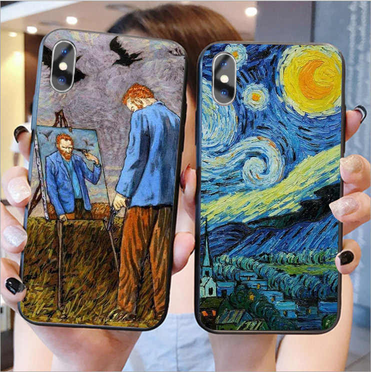 Van Gogh sterrenhemel art Soft silicone Cover Phone Case Voor iPhone 11 Pro MAX 6 6S Plus 7 7Plus 8 8Plus X XR XS MAX