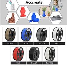 Acccreate 0,5 kg/1kg 1,75mm PLA/TPU/PETG de madera de cobre/aluminio/resplandor en oscuridad 3D impresión consumibles para Ender 3 3D impresora