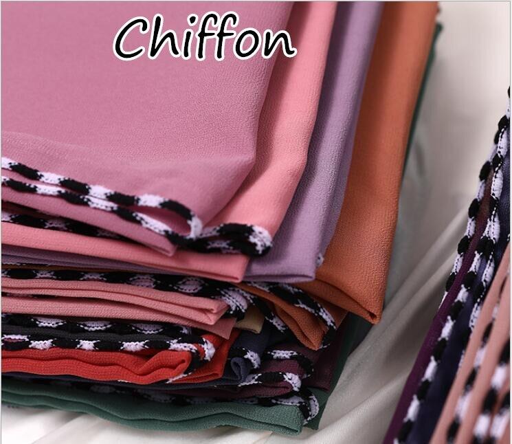 S2 10pcs High quality black edge chiffon hijab   scarf   shawl 180*75cm lady maxi   scarf  /  scarves     wrap   headband
