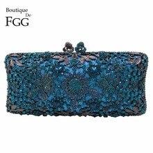 Boutique De FGG Türkis Blau Frauen Kristall Clutch Abend Tasche Braut Hochzeit Partei Abendessen Diamant Schminktäschchen Handtasche Geldbörse