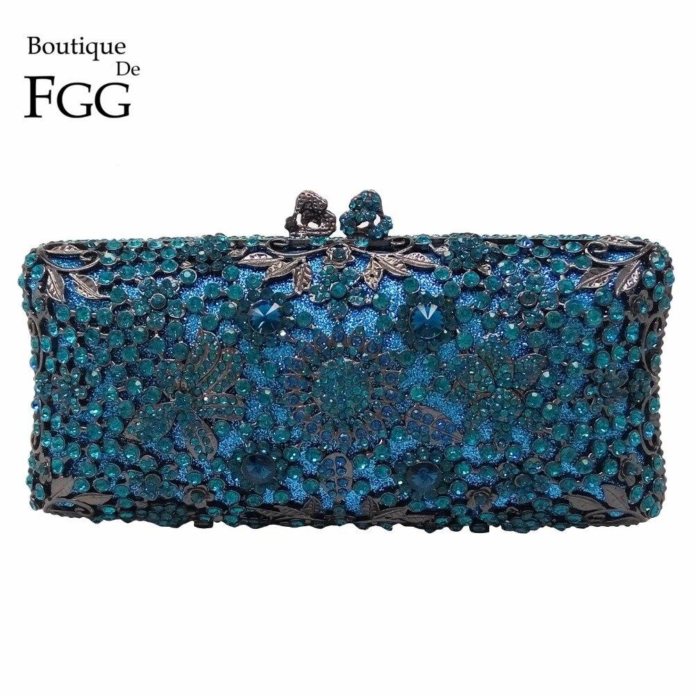 Boutique De FGG Turquoise Blue Women Crystal Clutch Evening Bag Bridal Wedding Party Dinner Diamond Minaudiere Handbag Purse
