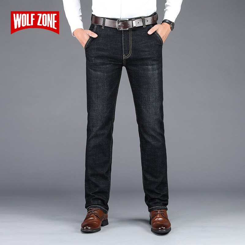2019 Brand Autumn Winter New Black Jeans Men Fashion Casual Straight Long Trousers Classic Business Stretch Mens Jeans Pants
