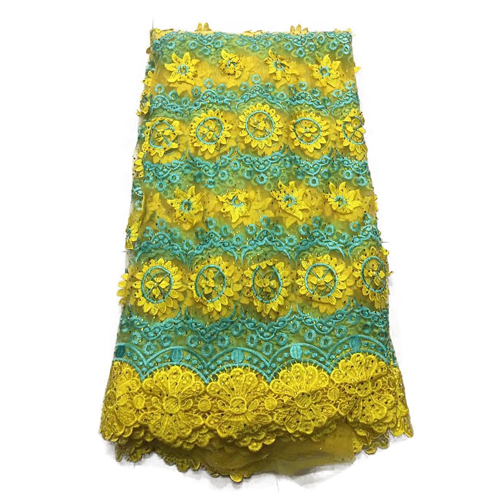 New Africa Ankara 3D Flower Beaded Lace Fabric, 2019 Latest Design Nigerian Lace Fabrics For Wedding Dress Party In Yellow