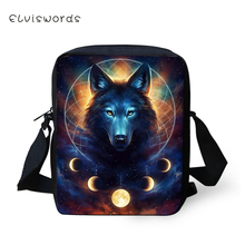 ELVISWORDS Fashion Womens Messenger Bags Fantasy Wolf Pattern Girls Cross Body Cool Animal Boys Mini Flaps Purses